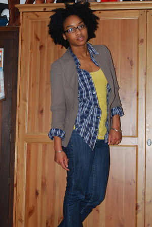 blazer, plaid shirt, Bebe Nelly